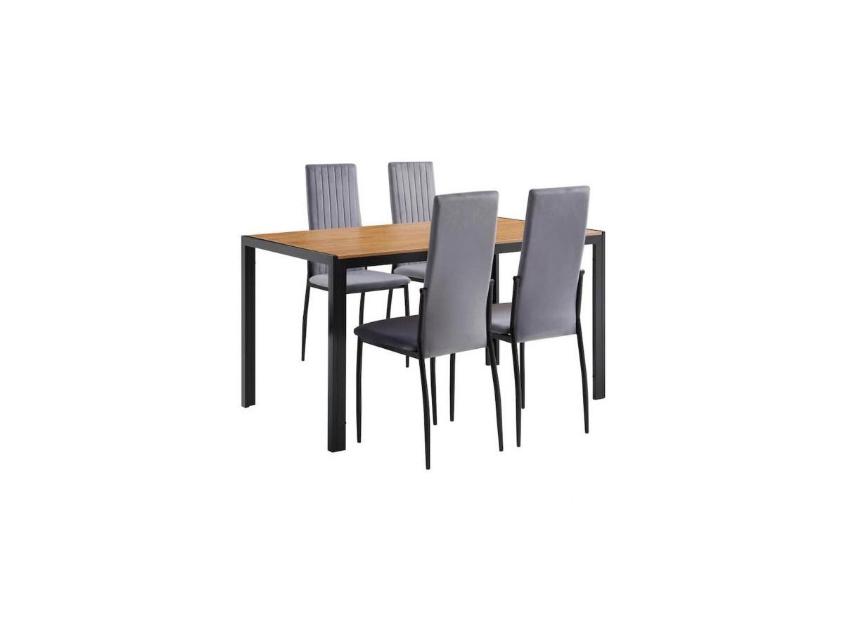 Set table de repas 120 cm et 4 chaises DARE