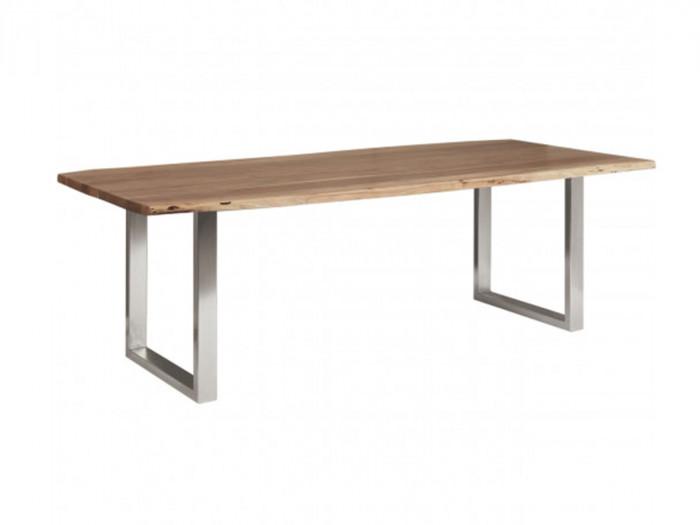 Table de repas 4-6 personnes AWA pieds carres en metal chrome