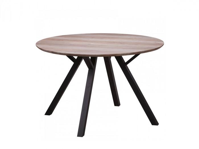 Table 120 cm LINDA Couleur Chêne Bois clair et Métal Noir