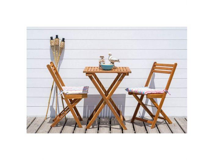 Ensemble table de repas carré + 2 chaises IOS Acacia massif