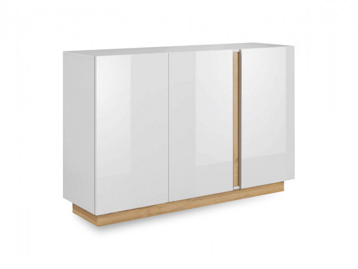 Buffet 139 cm portes simples ARCOMA Blanc brillant et Chêne