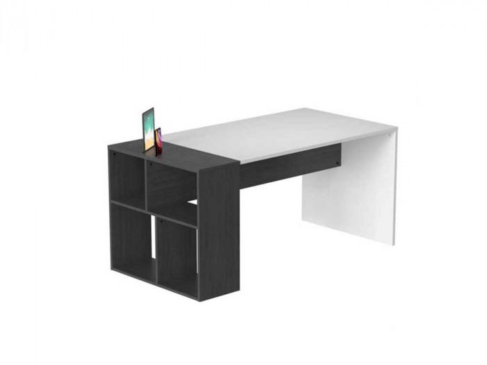Bureau avec étagères MAGA gris et blanc