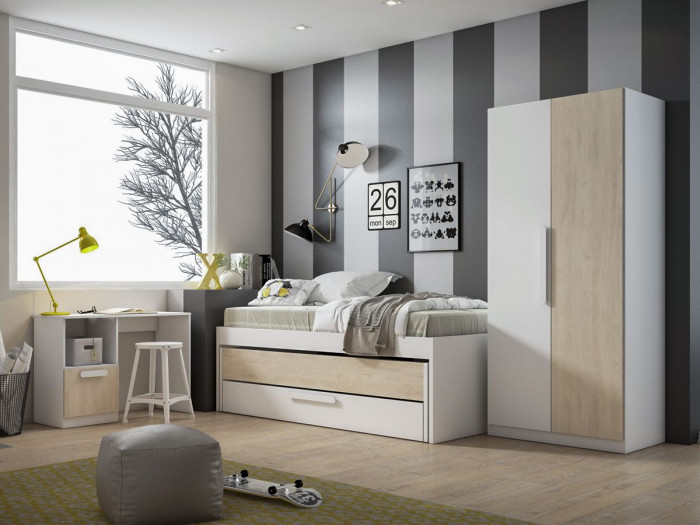 Lit gigogne avec 2 tiroirs CANDIE chêne et blanc 90 x 190 cm