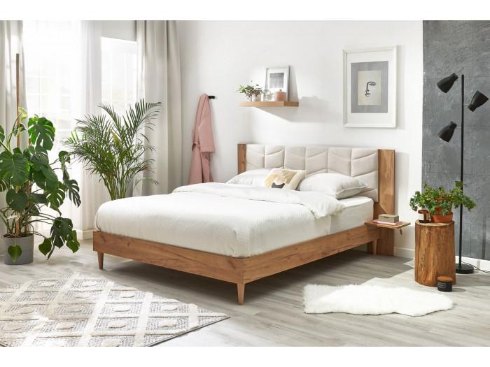 Structure de lit 140x190 cm LEONA avec lattes massives pieds en bois naturel