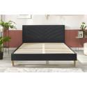 Structure de lit VELVET avec lattes massives pieds en bois naturel 140 x 190 cm