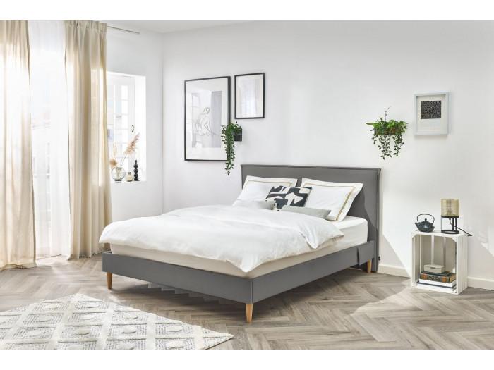 Lit 140x190 cm SARY avec pochettes et lattes massives pieds en bois naturel
