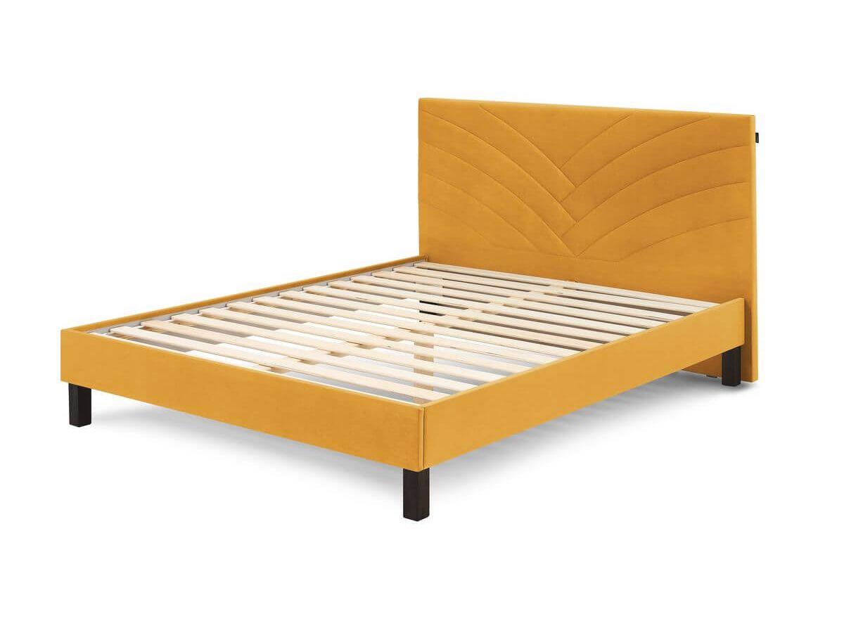Structure de lit 160x200 cm VELVET avec lattes massives pieds carrés en bois wengé