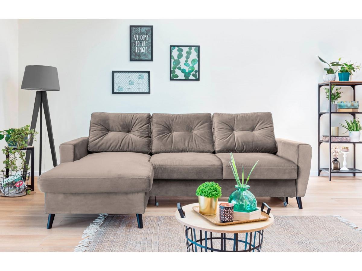 Canapé d'angle convertible SCANDI VELOURS
