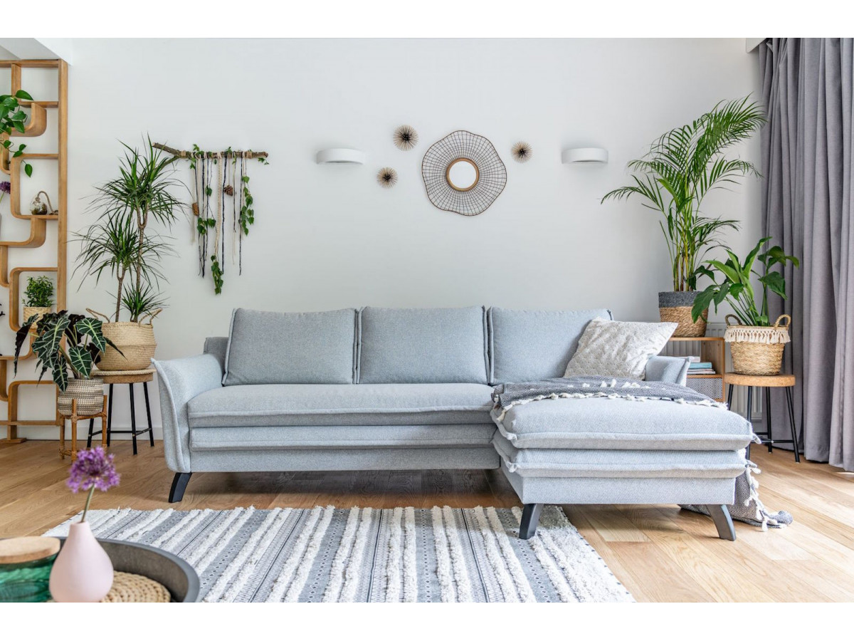 Canapé d'angle anti-tache fixe BOHO