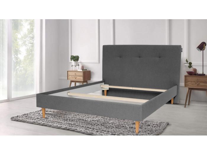 Structure de lit TORY pieds en bois naturel 140 x 190 cm