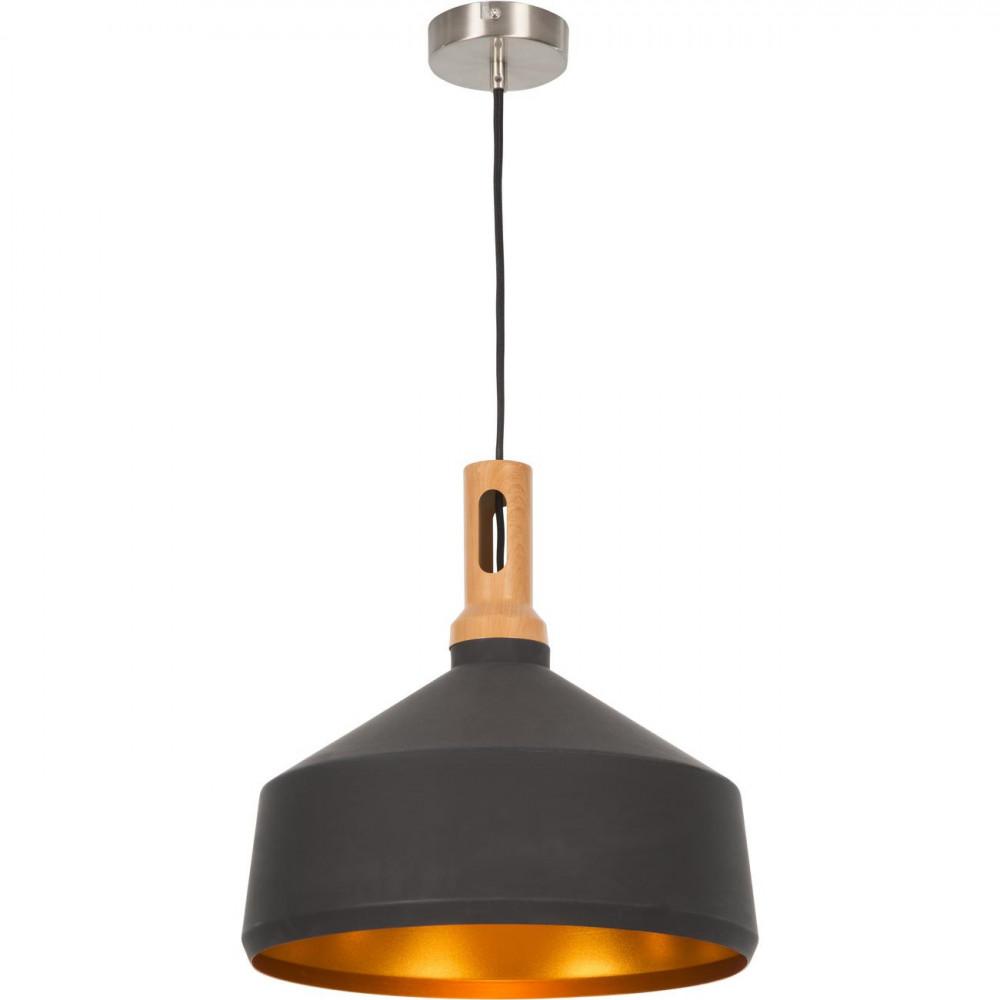 Suspension bois et métal industriel Noir