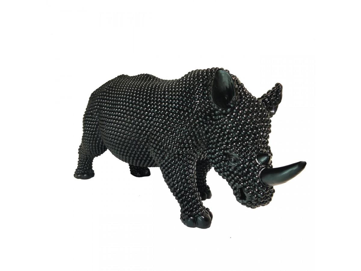 Statue elegante de rhinoceros en polyresine Rino Noir3