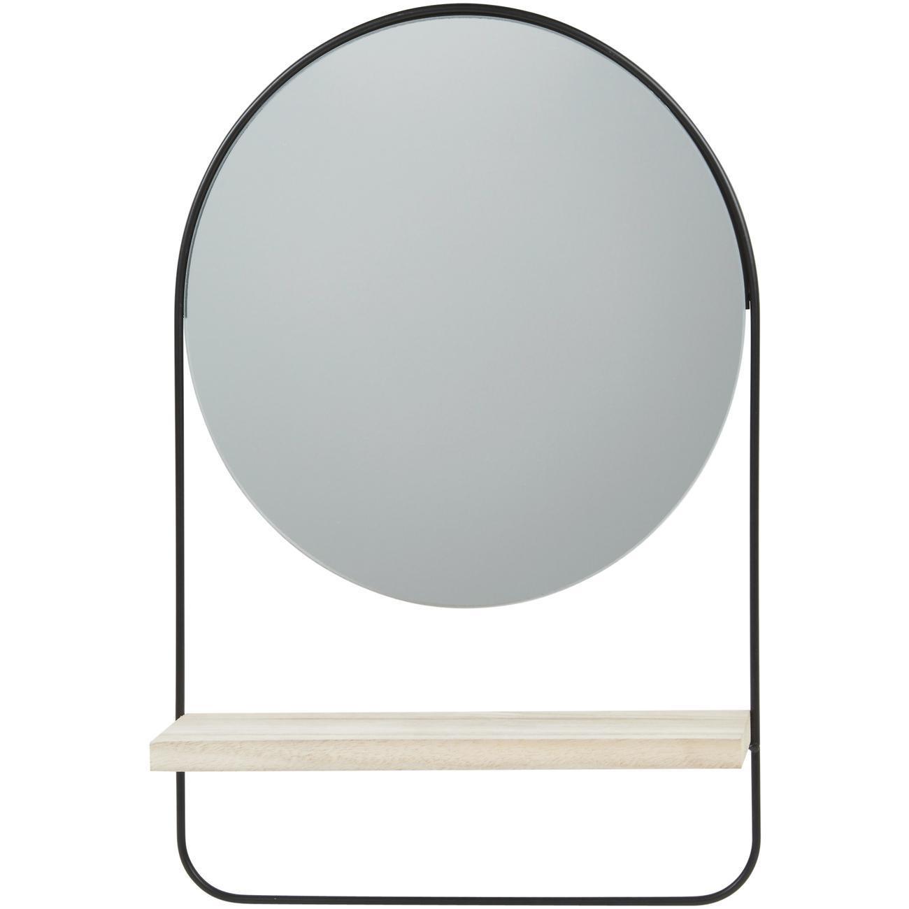 Miroir et tendance de forme ronde en metal avec son etagere en bois ENS1