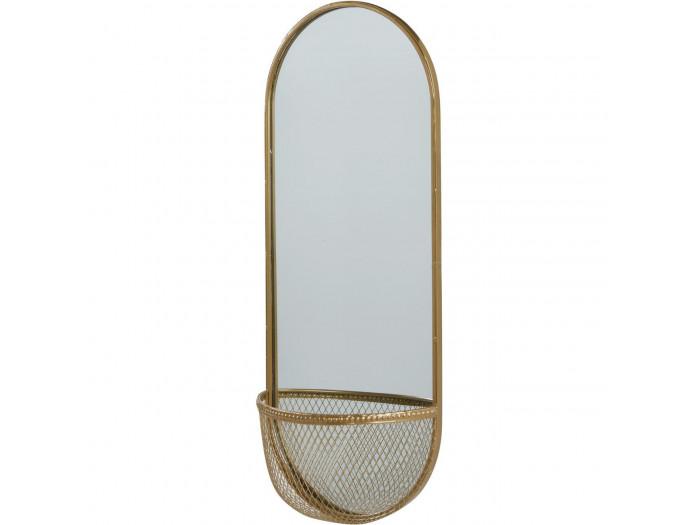 Miroir et tendance de forme ovale avec structure en metal et son panier Volg4