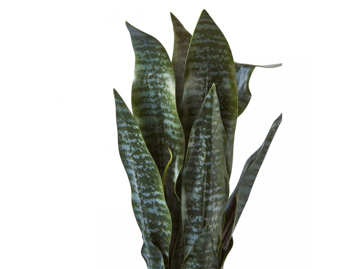 Plante artificielle en polyethylène a 12 feuilles et son pot noir Olla3