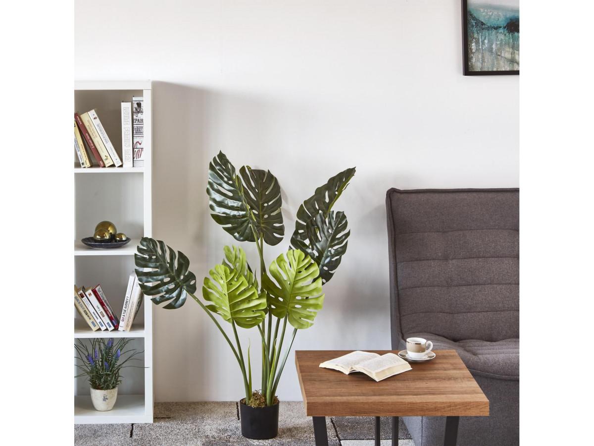 Plante artificielle en polyethylène a 8 feuilles et son pot noir Olla2