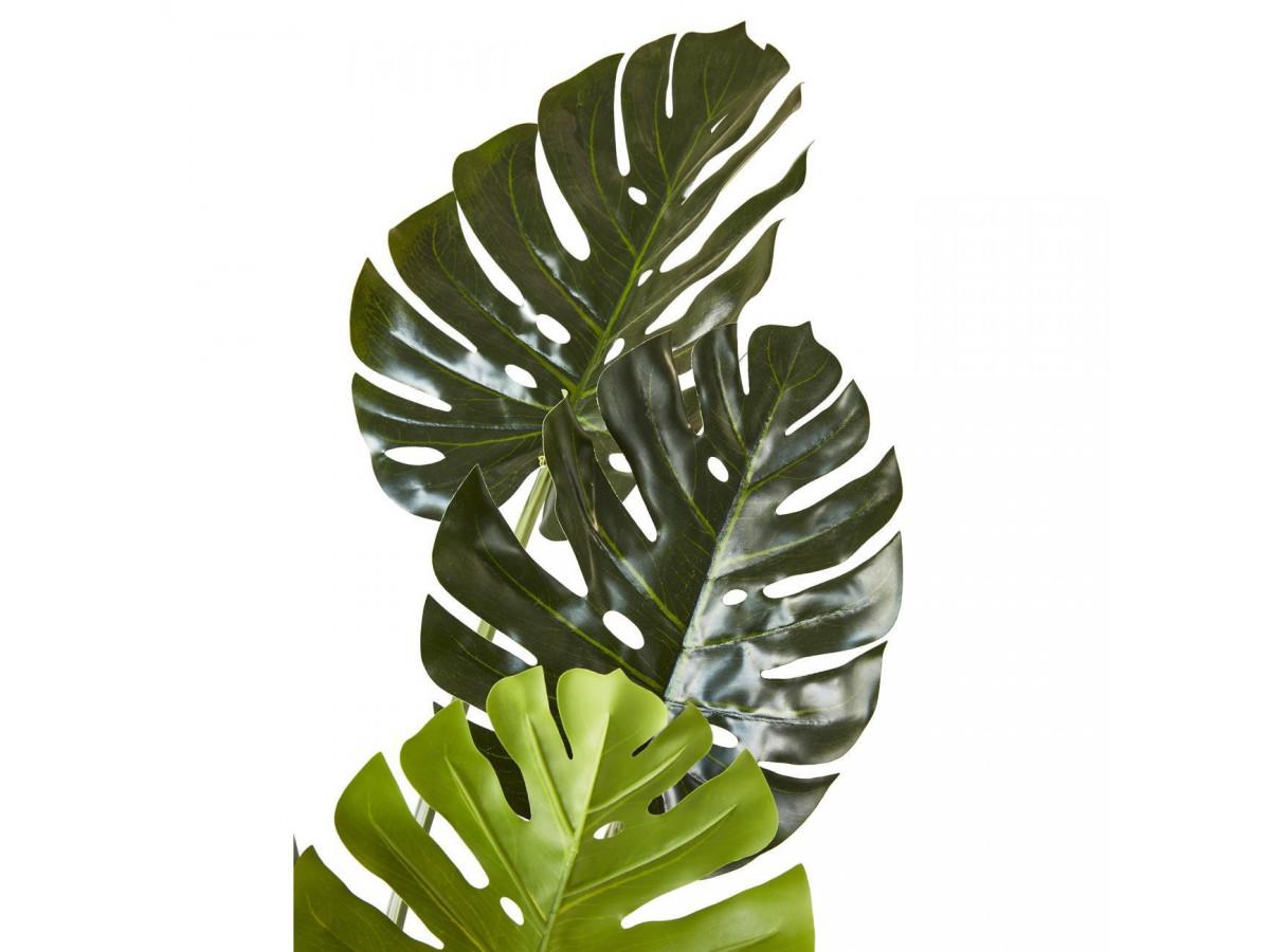 Plante artificielle en polyethylène a 8 feuilles et son pot noir Olla3