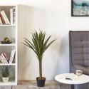 Plante artificielle en polyethylène a 62 feuilles et son pot noir Olla2
