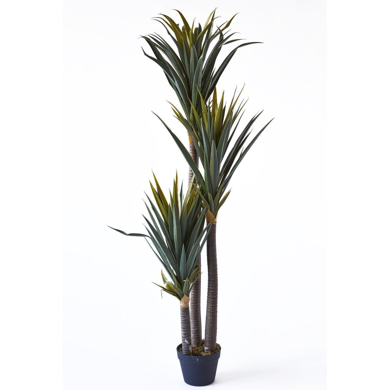 Plante artificielle en polyethylène a 153 feuilles et son pot noir Olla1