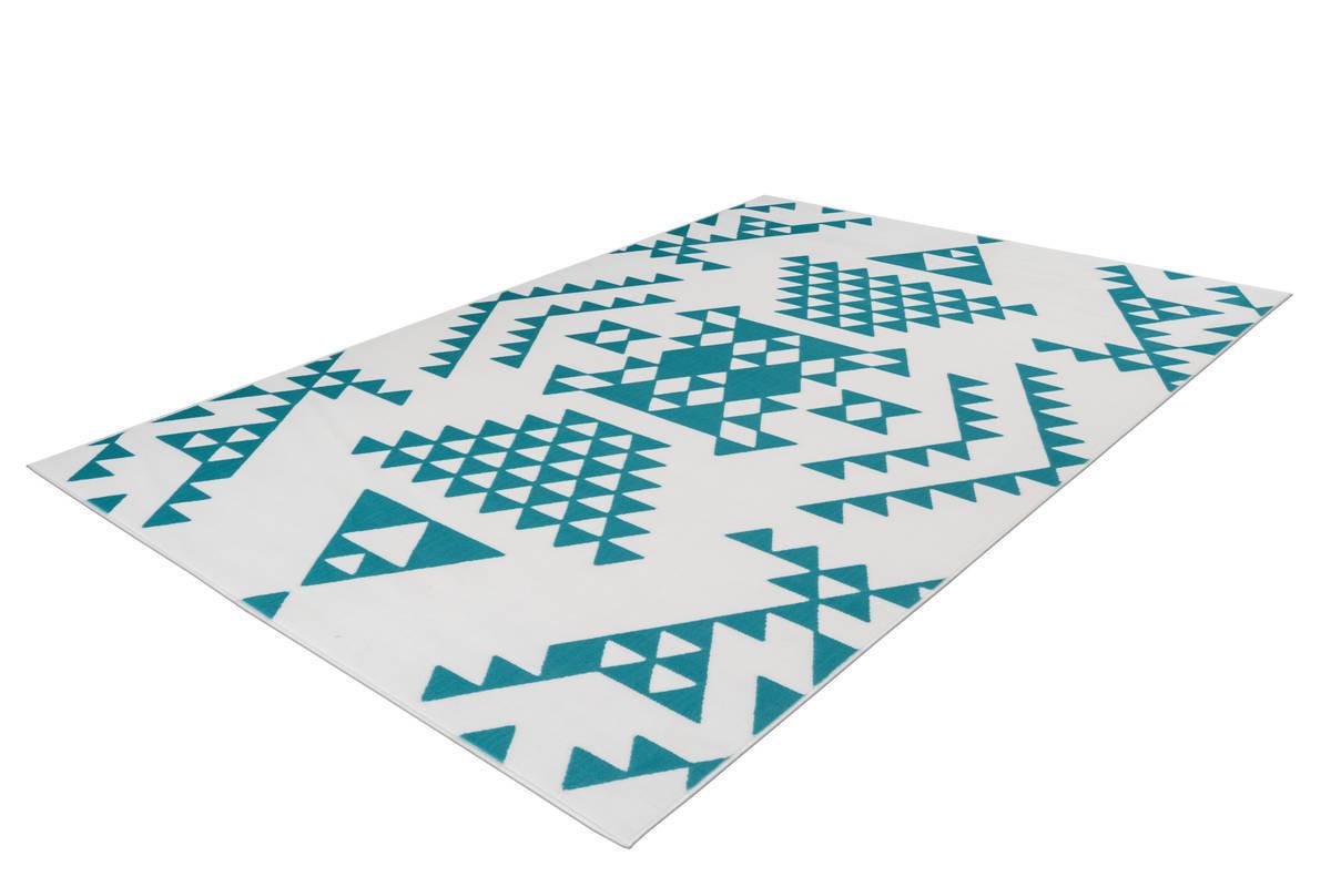 Tapis ZIKA Blanc/ Turquoise 80cm x 150cm2