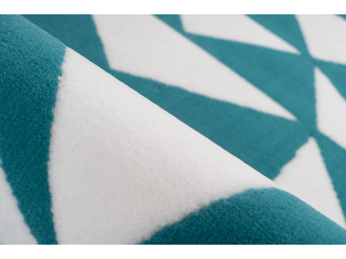 Tapis ZIKA Blanc/ Turquoise 80cm x 150cm4