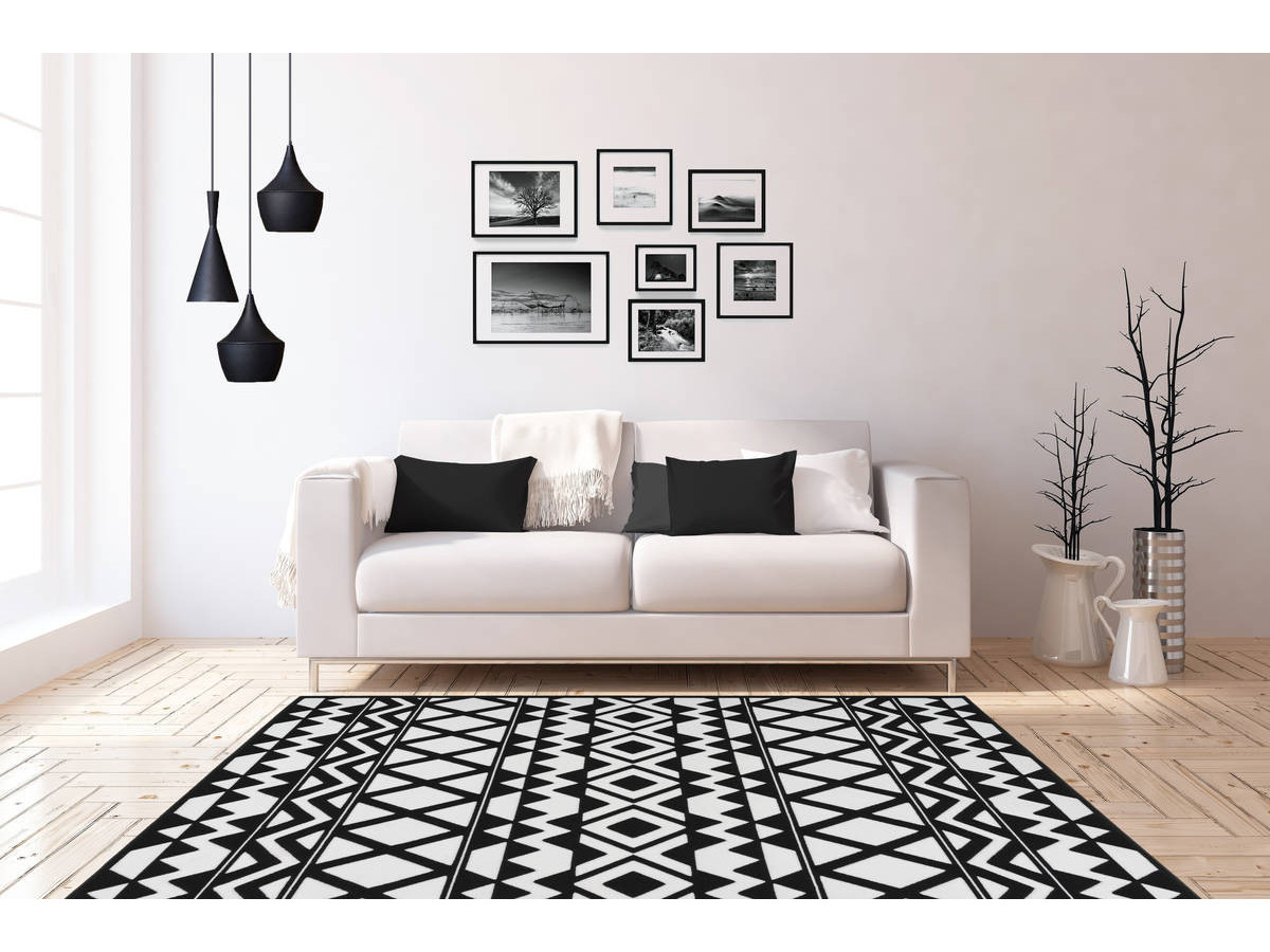 Tapis SAFI Noir / Blanc 120cm x 170cm1