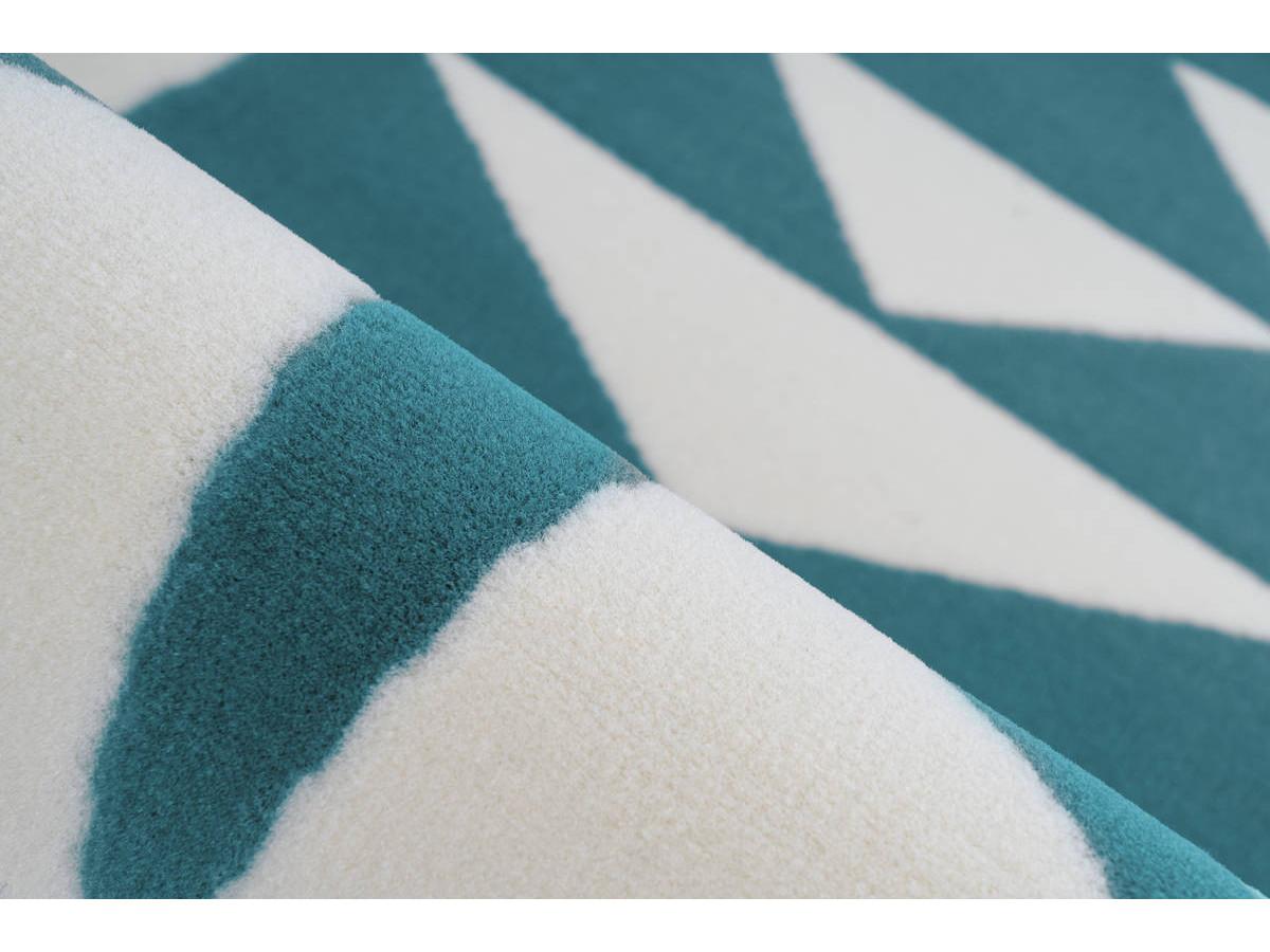 Tapis YOUMKA Blanc/ Turquoise Ø 120cm RUND4