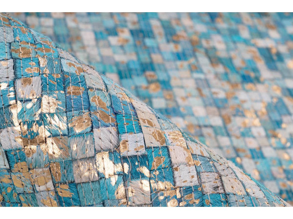 Tapis TORI Turquoise / Doré 80cm x 150cm4