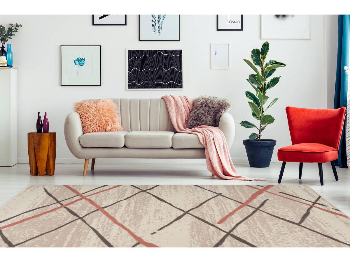 Tapis KRISTA Crème / Marron / Rosé 200cm x 290cm1