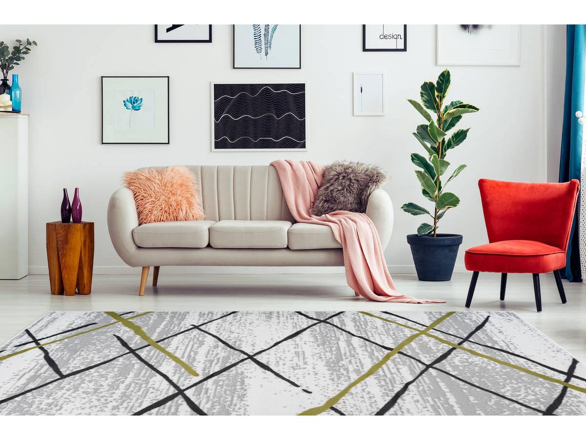 Tapis KRISTA Blanc/ Gris / Kaki 160cm x 230cm1