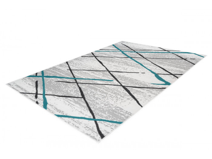 Tapis KRISTA Blanc/ Gris / Turquoise 120cm x 170cm