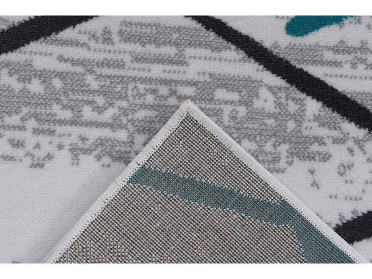 Tapis KRISTA Blanc/ Gris / Turquoise 160cm x 230cm5