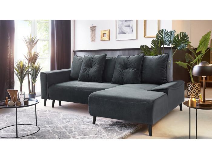 Canapé d'angle convertible pieds noirs HERA