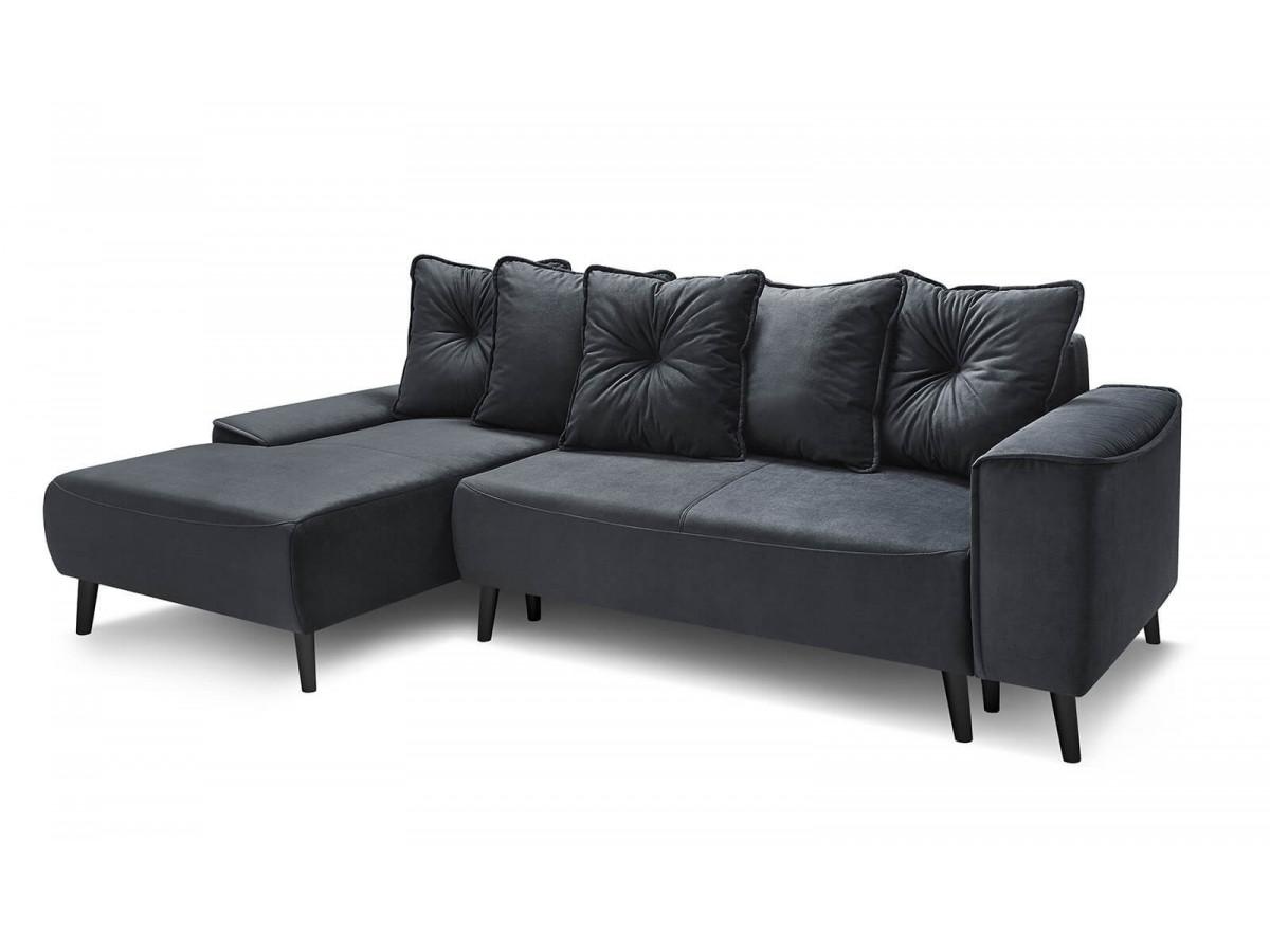 Canapé d'angle convertible HERA pieds noir