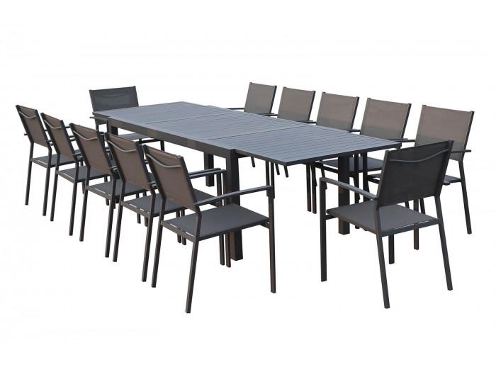 Ensemble table extensible + 12 fauteuils anthracite Chili