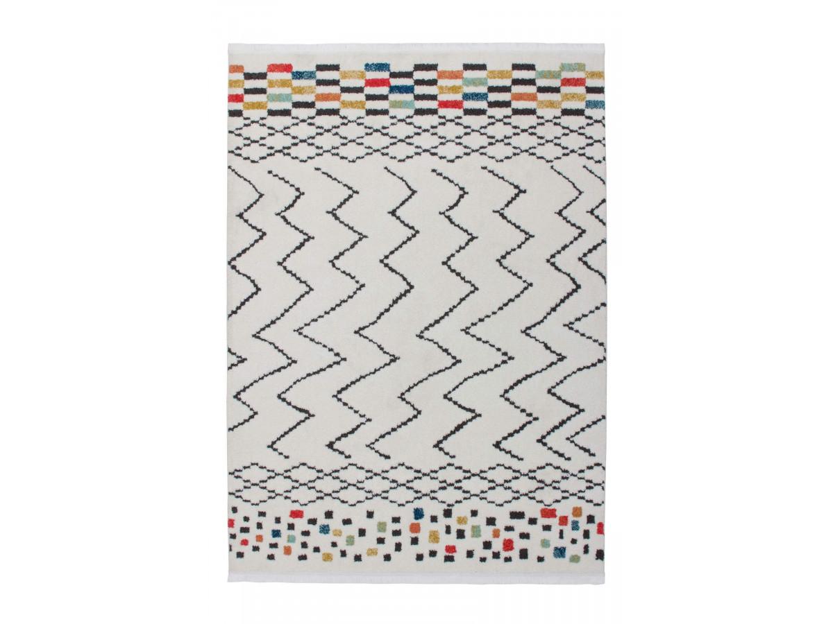 Tapis HIMBA Blanc / Noir / Multicolor 200cm x 290cm