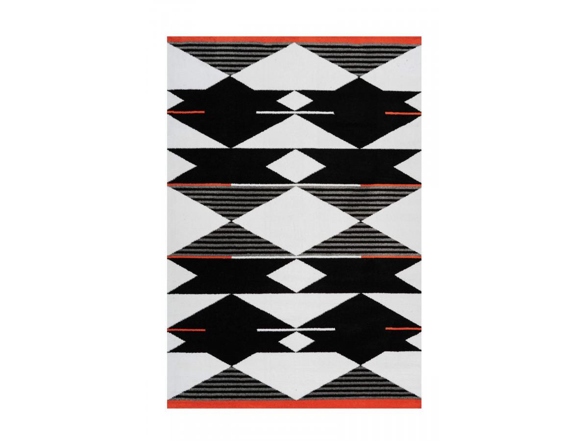 Tapis OMAN Noir / Blanc / Rouge 120cm x 180cm