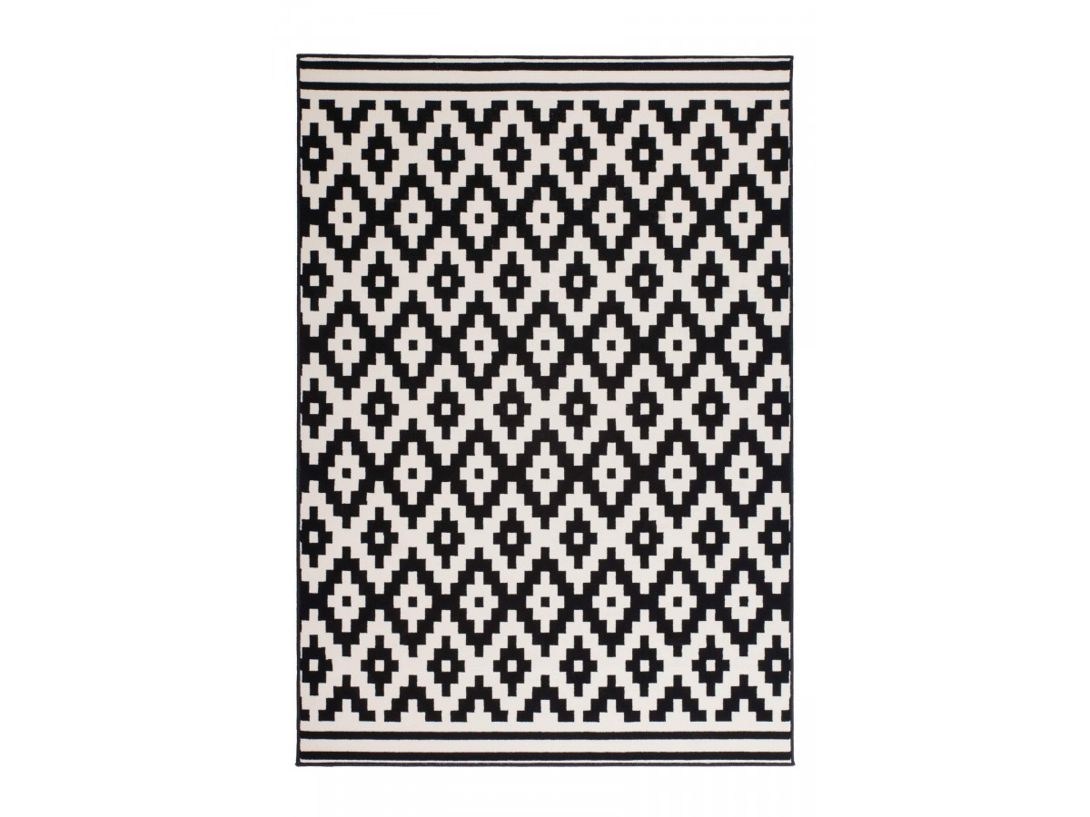 Tapis HUNDIE Noir / Blanc 120cm x 180cm