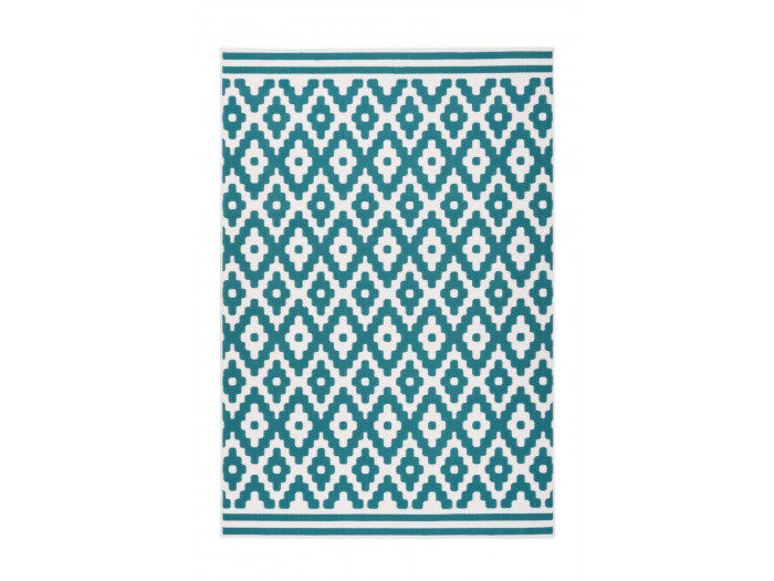 Tapis HUNDIE Blanc / Turquoise 200cm x 290cm