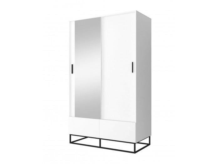 Armoire 130 cm 2 portes ENJOY IT Blanc et Chêne