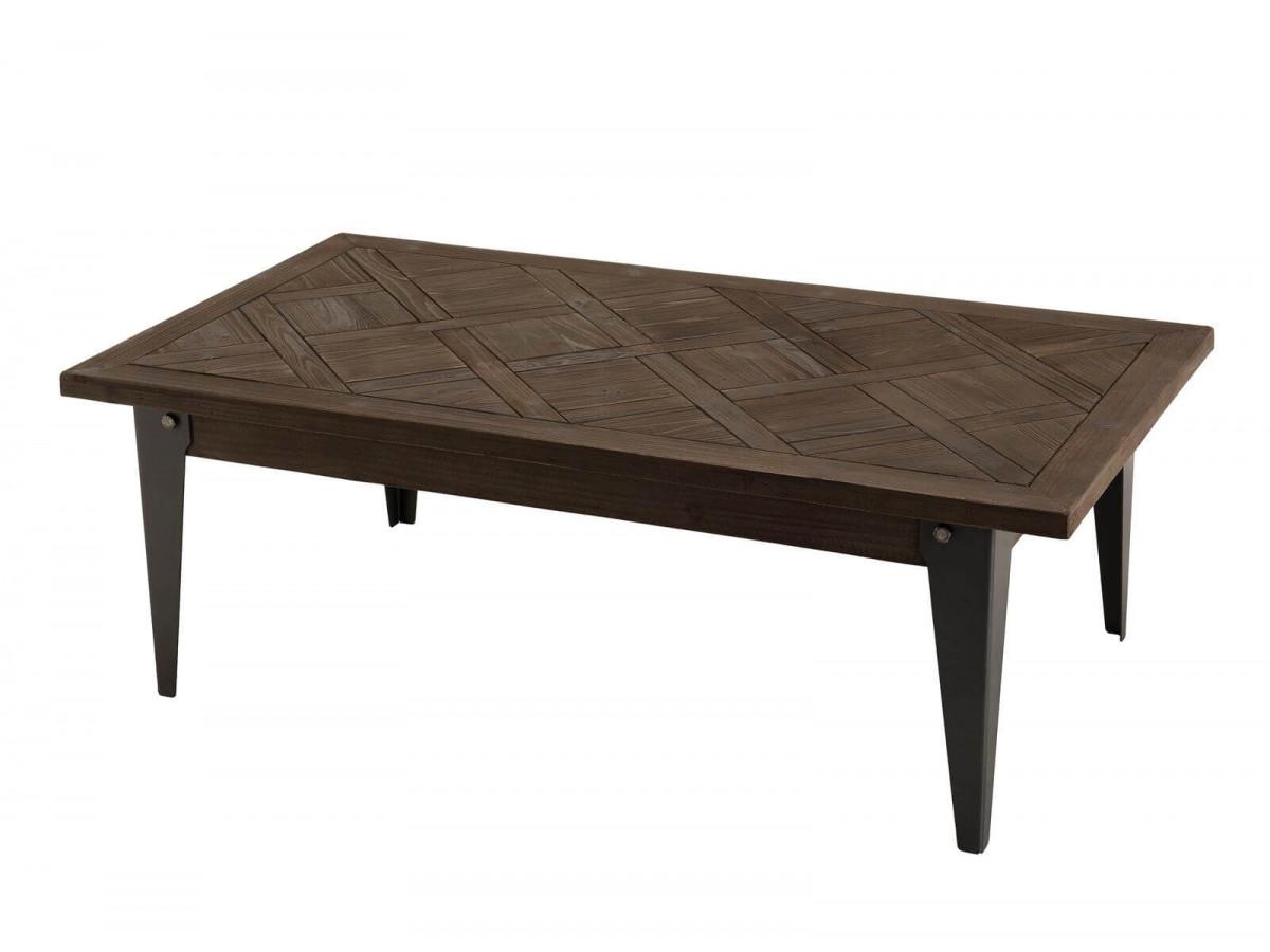 Table basse 120x66cm bois plateau Sapin marqueté BUBA