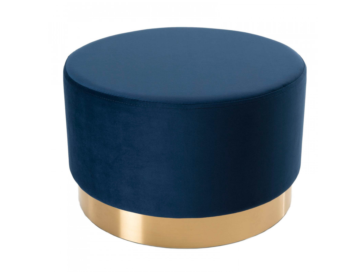 Pouf rond 55x55cm tissu velours bleu marine ceinture dorée BERAPA