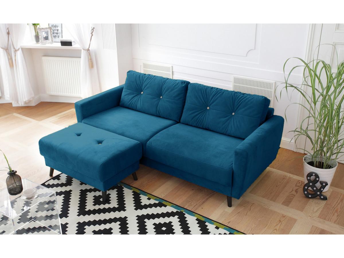 Canapé droit fixe SCANDI Édition limitée velours avec pouf
