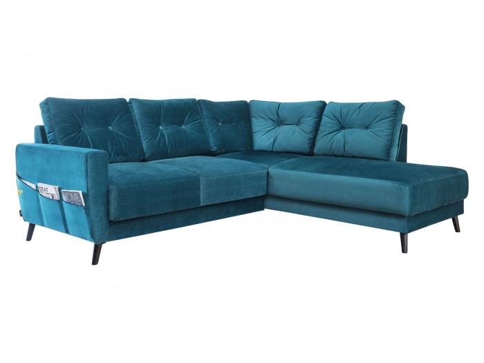 Canapé d'angle fixe L velours SCANDI
