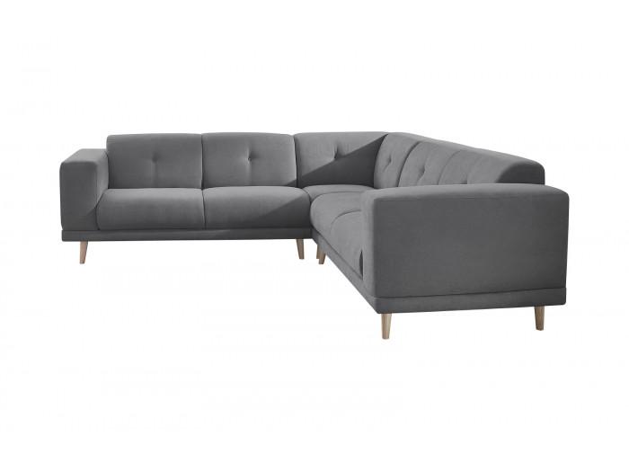 Canapé panoramique fixe avec pouf LUNA