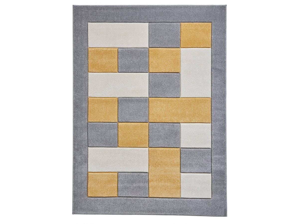 Tapis QUIM Gris / Jaune 60 x 120