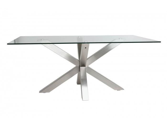 Table 180 cm ASTOR verre et métal chromé
