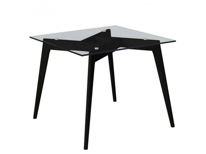 Table 90 cm ZELI Verre et Bois frêne massif Noir