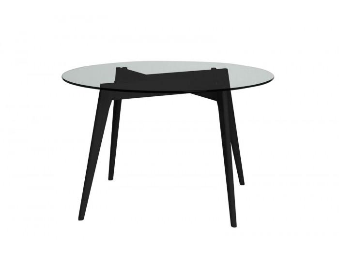 Table 120 cm ZELI Verre trempé et Pieds bois frêne massif