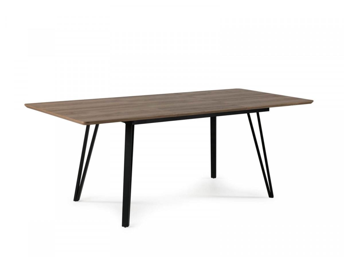 Table extensible 140cm pour 4-6 personnes BOGOTA chêne rustique / noir